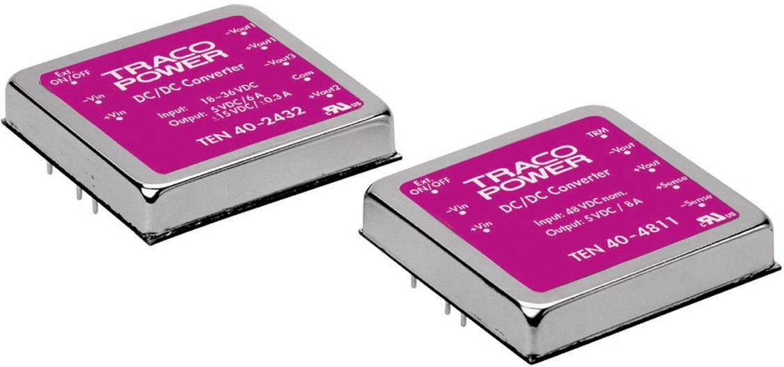 DC/DC měnič TracoPower TEN 40-1222, vstup 9 - 18 V/DC, výstup +12/-12 V/DC, 1,8/1,8 A
