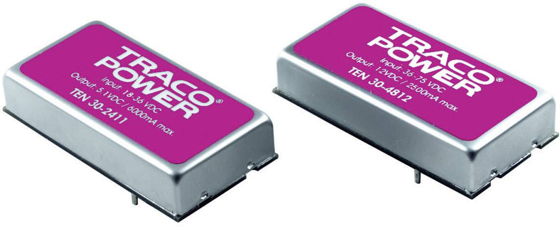 DC/DC měnič TracoPower TEN 30-1222, vstup 9 - 18 V/DC, výstup ±12 V/DC, ±1250 mA, 30 W