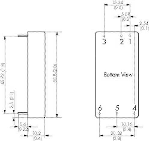 DC/DC měnič TracoPower TEN 30-4812, vstup 36 - 75 V/DC, výstup 12 V/DC, 2500 mA, 30 W