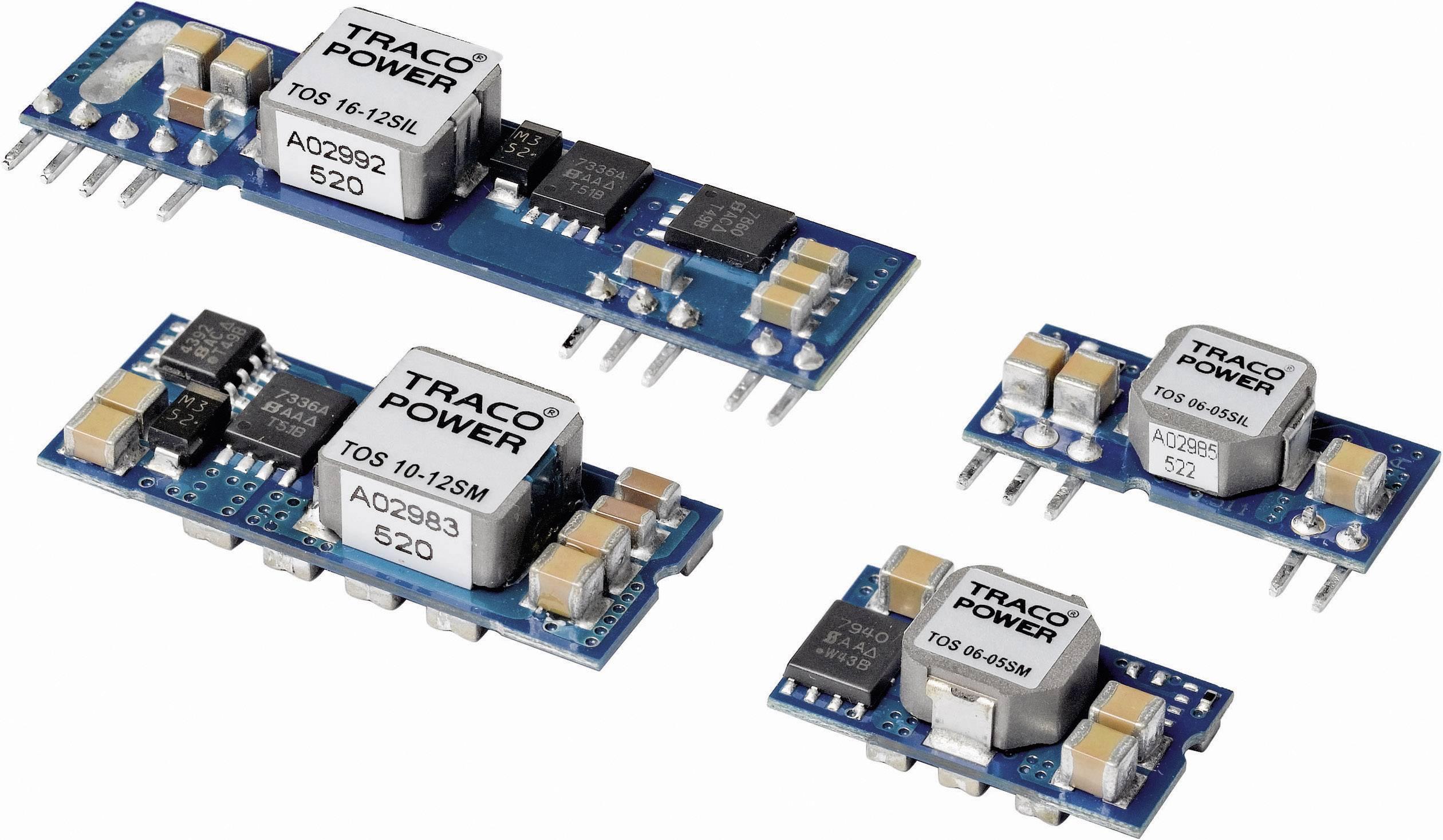 DC/DC měnič TracoPower TOS 16-12SIL, vstup 8,3 - 14 V/DC, výstup 0,75 - 5 V/DC, 16 A