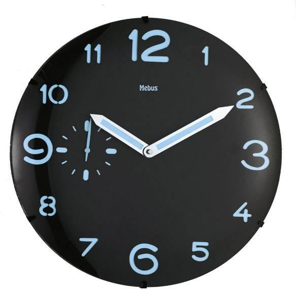Quartz nástenné hodiny Mebus 17867, vonkajší Ø 35.5 cm, čierna