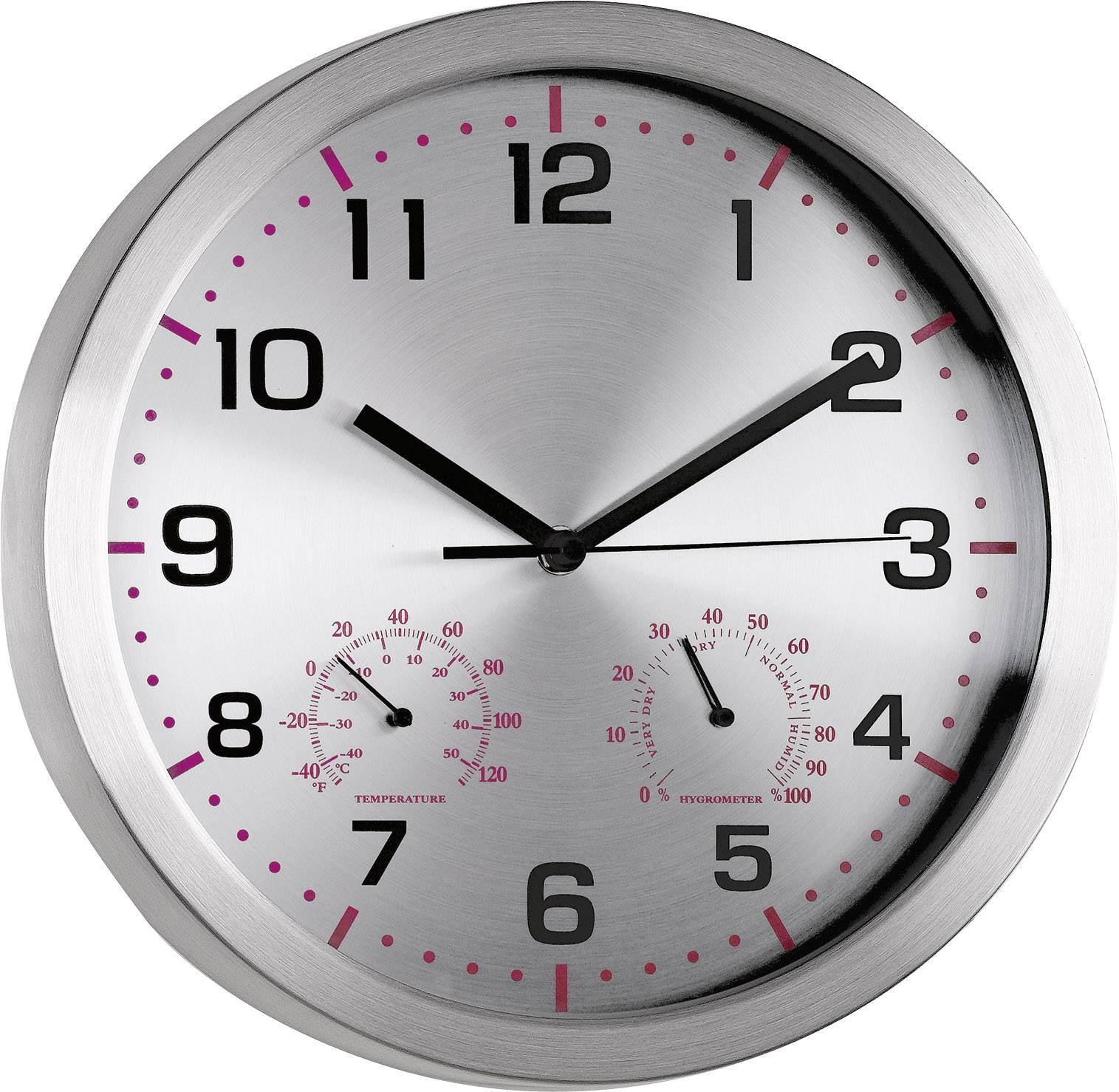 Quartz nástenné hodiny Mebus 41934, vonkajší Ø 30 cm, hliník