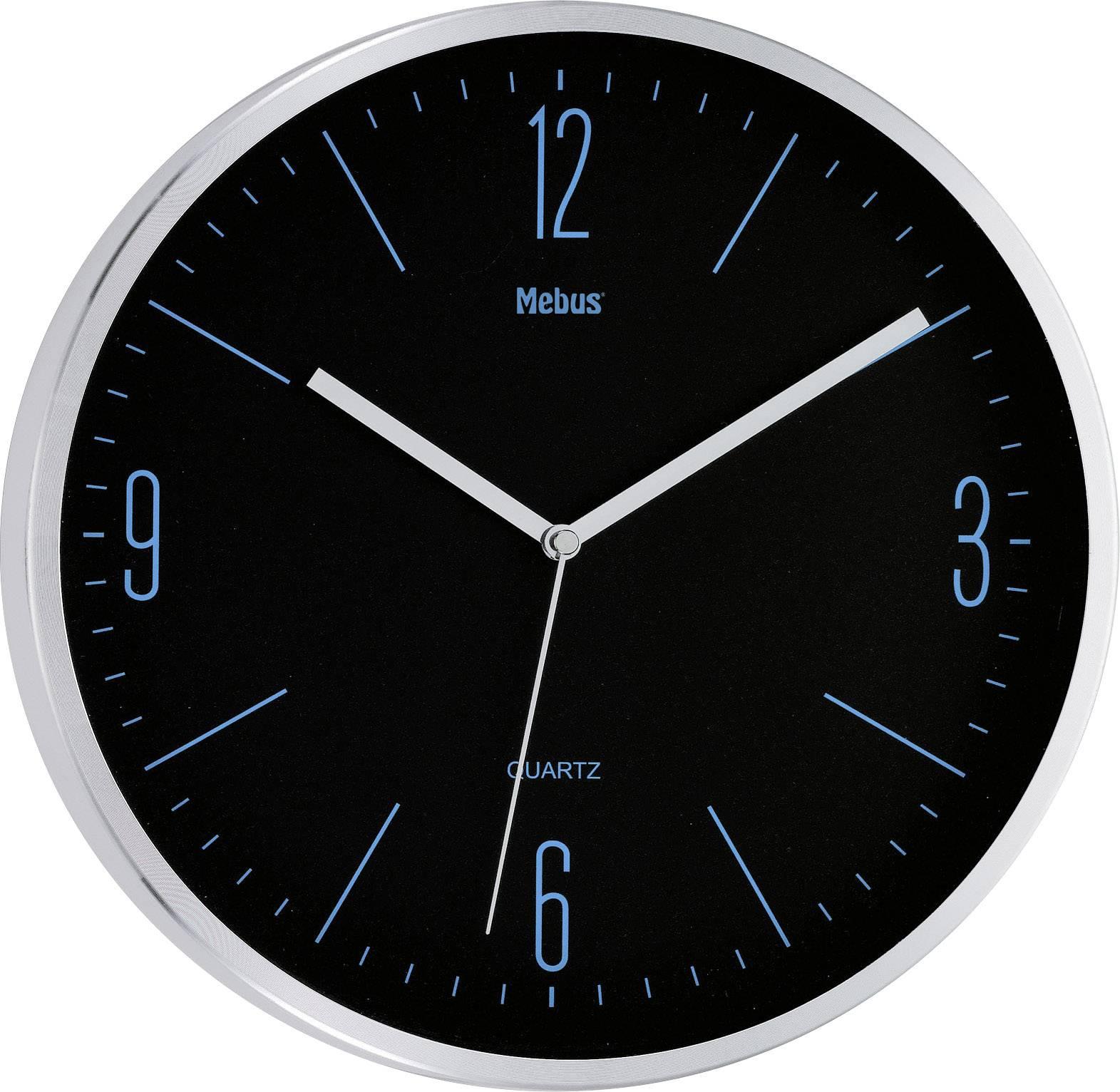 Quartz nástenné hodiny Mebus 16317, vonkajší Ø 30 cm, strieborná