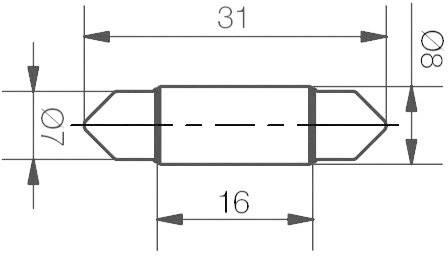 LED žárovka Signal Construct MSOC083142, 12 V DC/AC, modrá, podlouhlá
