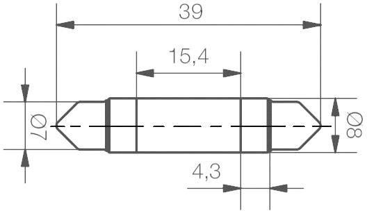 LED žárovka Signal Construct MSOC083964, 24 V DC/AC, bílá, podlouhlá