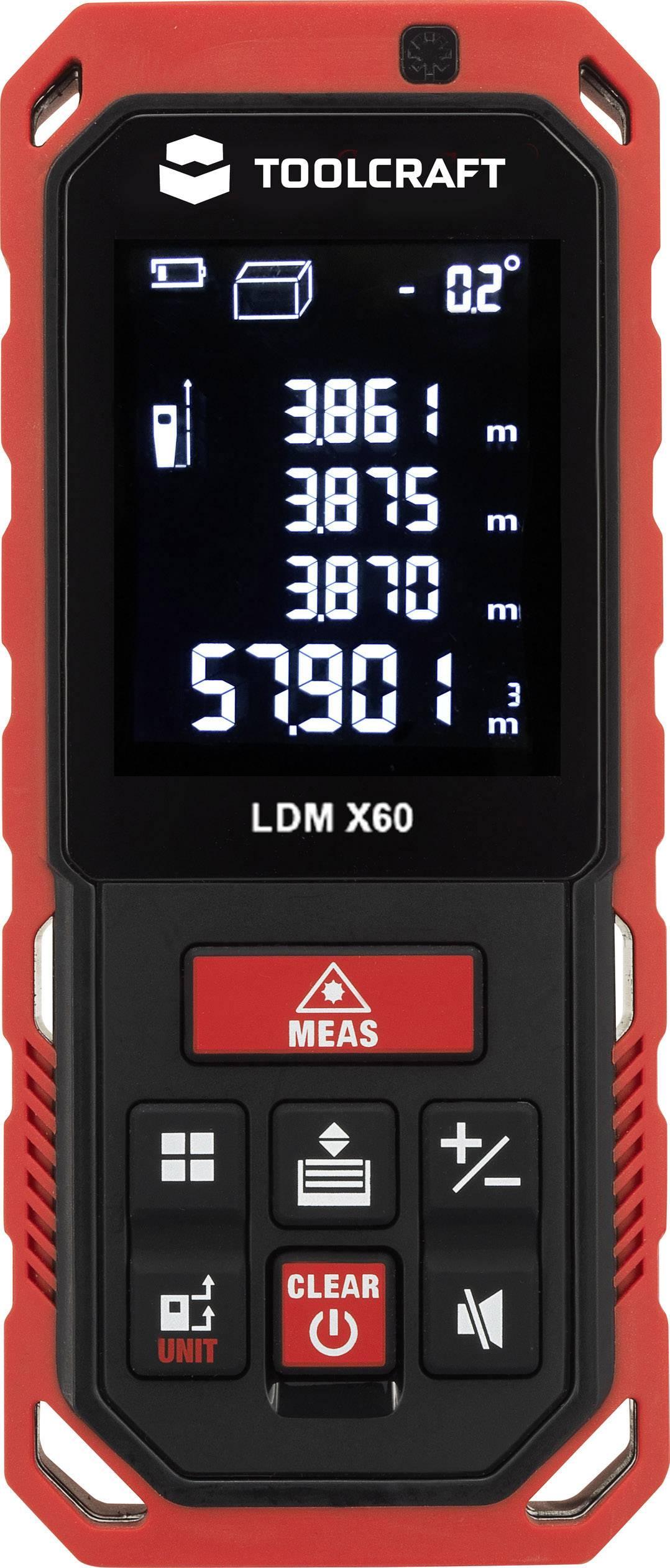 Laserový měřič vzdálenosti TOOLCRAFT TO-LMD X60, rozsah měření (max.) 60 m
