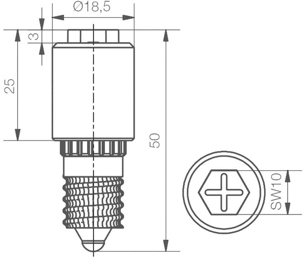 LEDžiarovka Signal Construct MBRE141608, E14, 230 V/DC, 230 V/AC, 1100 mlm, červená