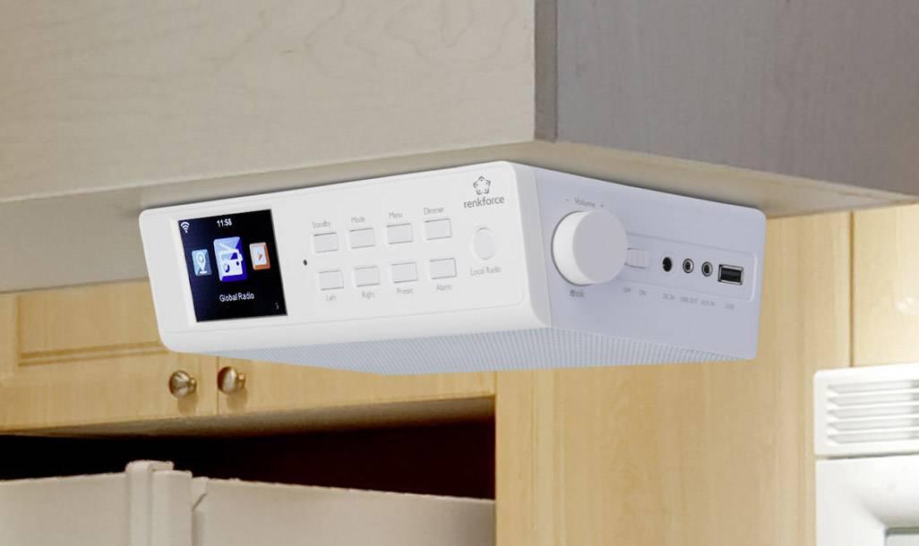 FM kuchyňské rádio, závěsné Renkforce RF-IR-KITCHEN1, USB, AUX, bílá