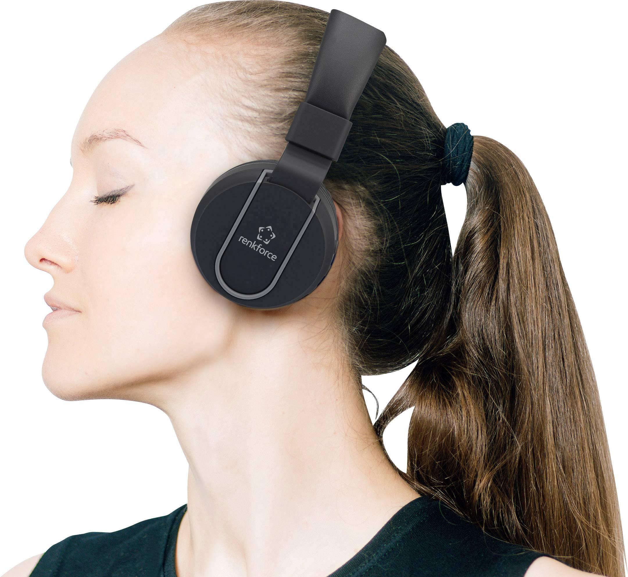 Bluetooth Hi-Fi stereo slúchadlá s mikrofónom Renkforce RF-BTK-100 RF-4731720, čiernosivá