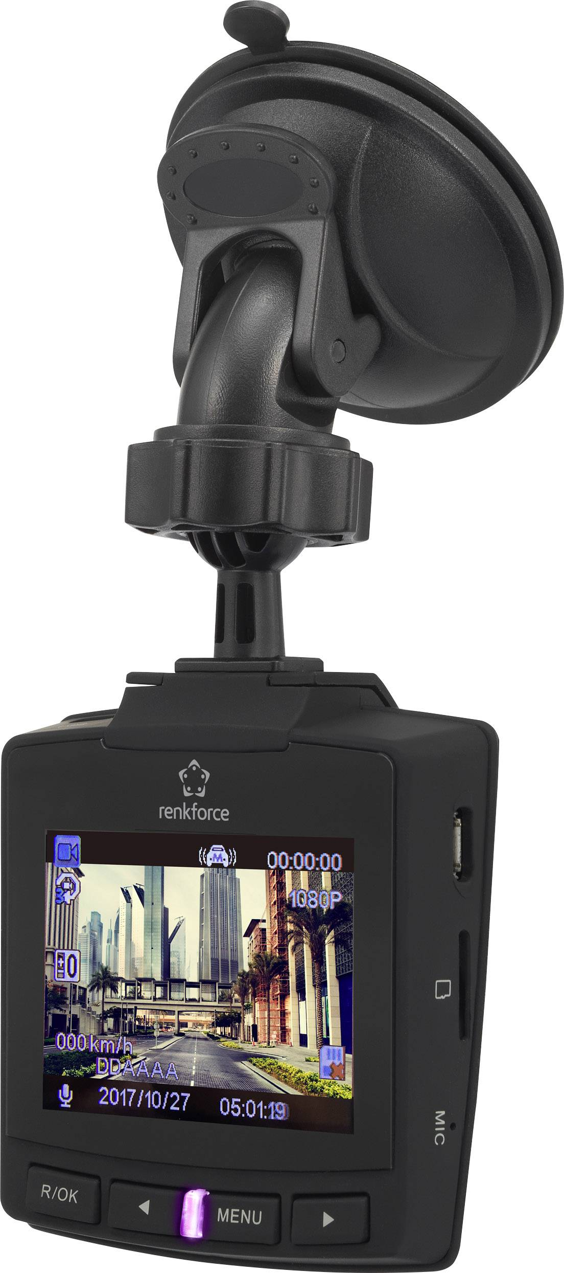 Kamera za čelné autosklo s GPS Renkforce RF-DC-1G, 152 °, 12 V, 5 V/DC