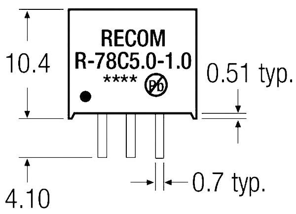 DC/DC měnič Recom R-78C3.3-1.0 (80000050), výstup 3,3 V/DC / 1 A, SIP 3