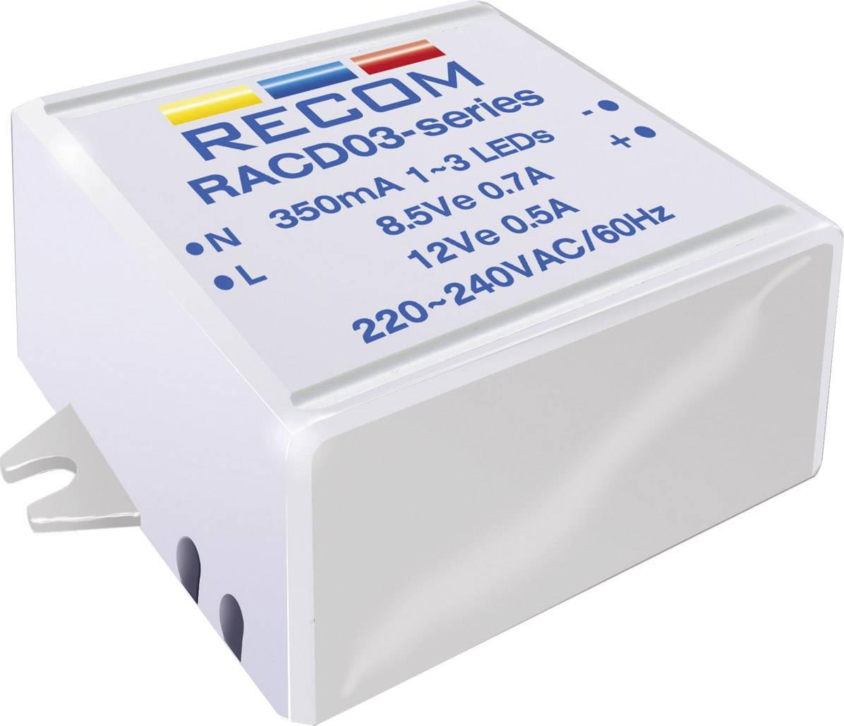 Konstantní zdroj proudu LED Recom Lighting RACD03-350, 350 mA, 90-264 V/AC