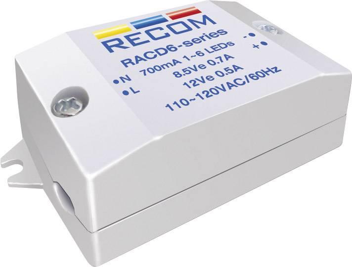 LED zdroj konštantného prúdu Recom Lighting RACD06-700, 700 mA, prevádzkové napätie (max.) 264 V/AC