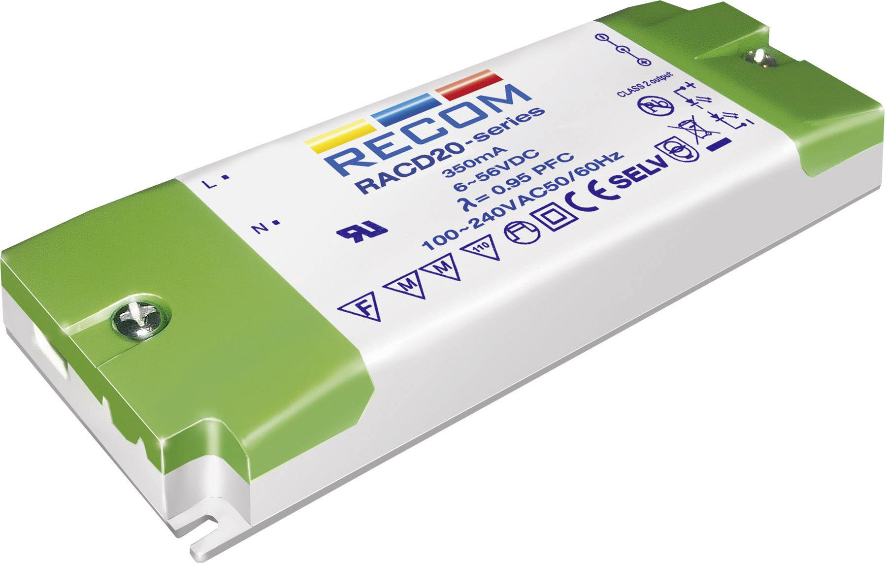 LED driver Recom Lighting RACD20-350, 20 W (max), 0.35 A, 6 - 56 V/DC