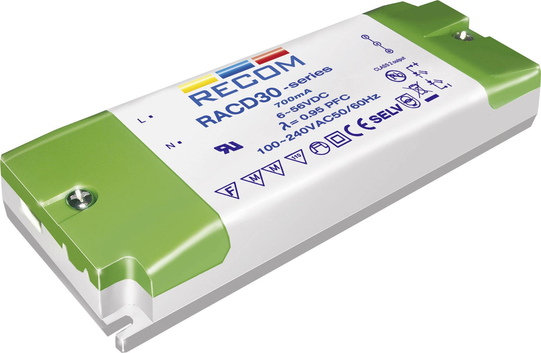 LED driver Recom Lighting RACD30-700, 30 W (max), 0.7 A, 10 - 43 V/DC