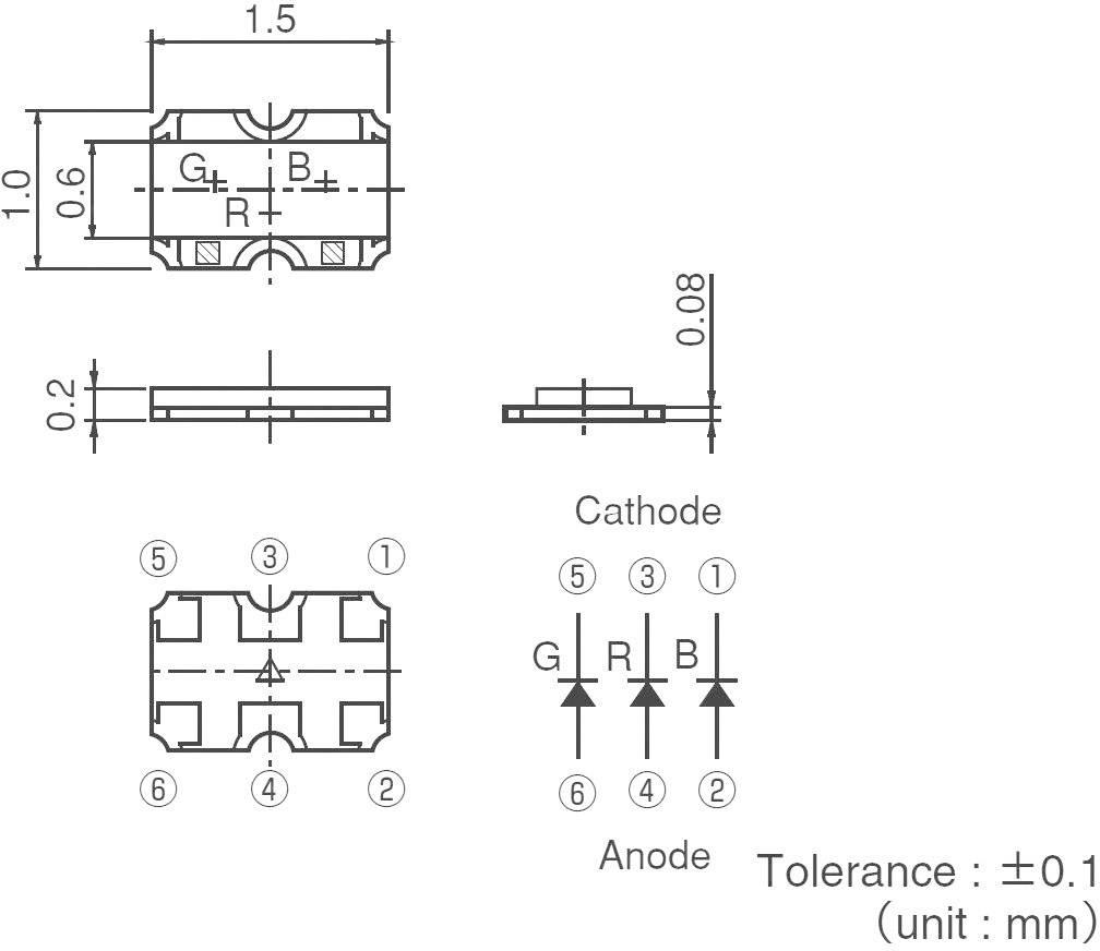 ViacfarebnáSMDLED ROHM Semiconductor SMLP36RGB1W3, 28 mcd, 45 mcd, 18 mcd, 50 °, 20 mA, 2.1 V, 3.1 V, 3 V, RGB