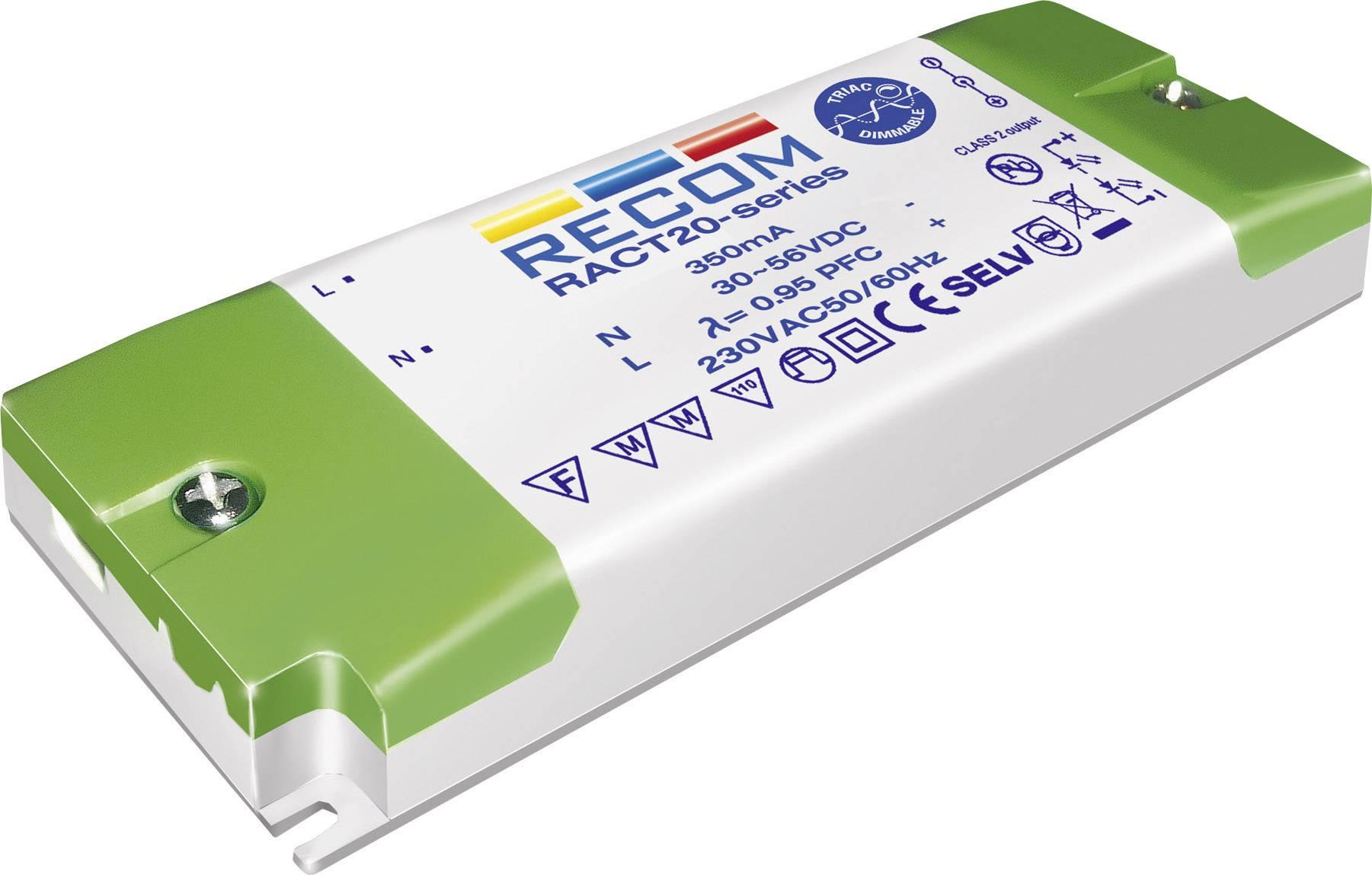 LED driver Recom Lighting RACT20-350, 20 W (max), 0.35 A, 30 - 56 V/DC
