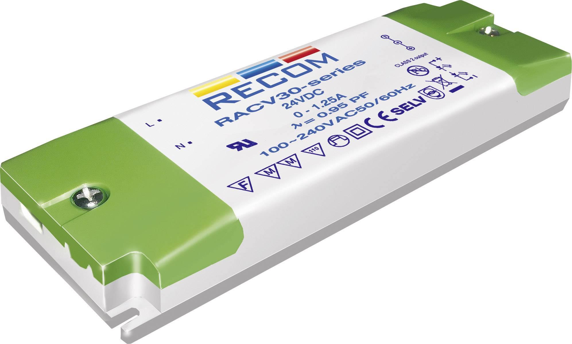 Napájací zdroj pre LED Recom Lighting RACV30-12, 30 W (max), 0 - 2.5 A, 12 V/DC