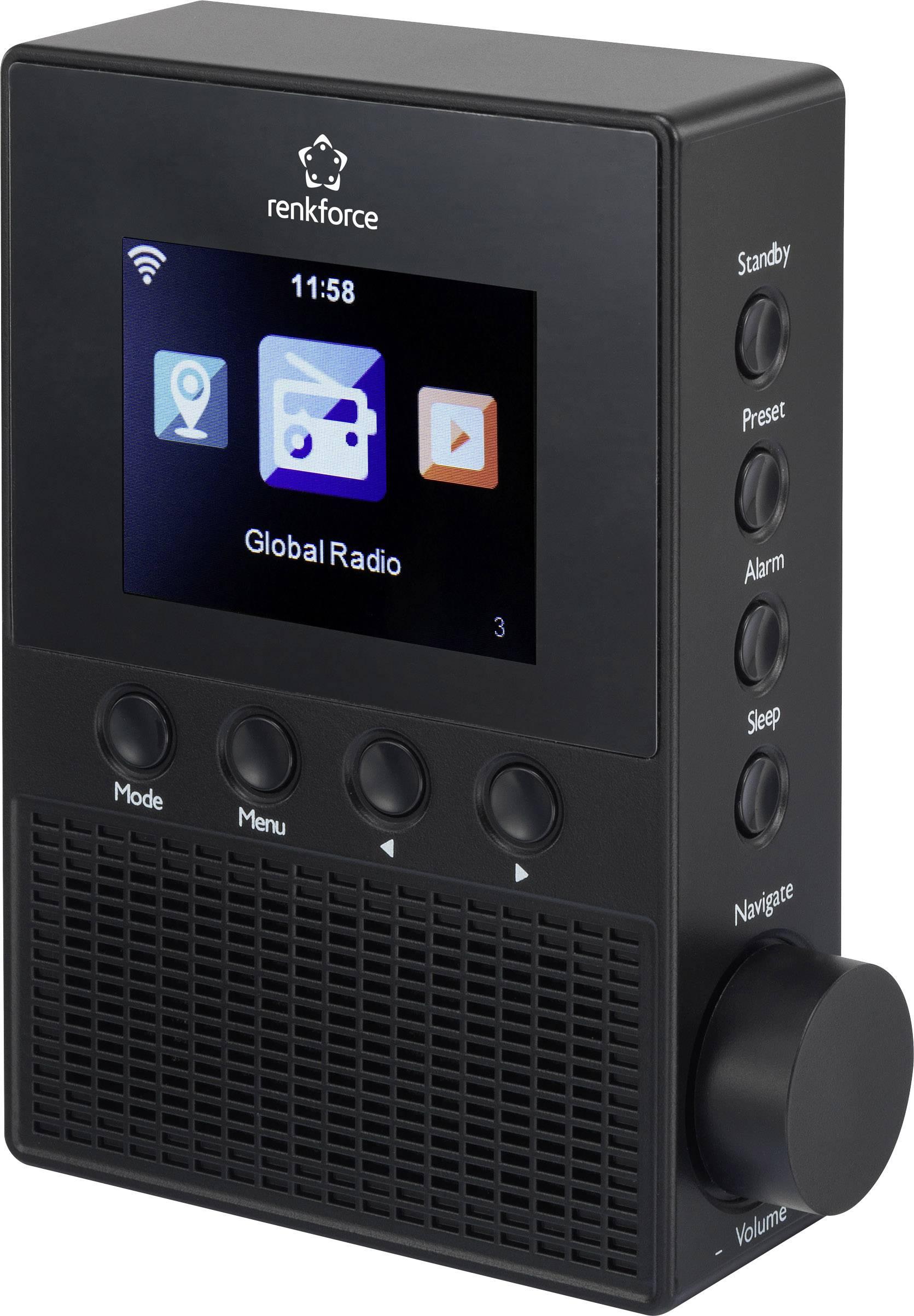 Internetové rádio do zásuvky Renkforce RF-IR-PSOCKET1, Wi-Fi, čierna, pre SK zásuvky