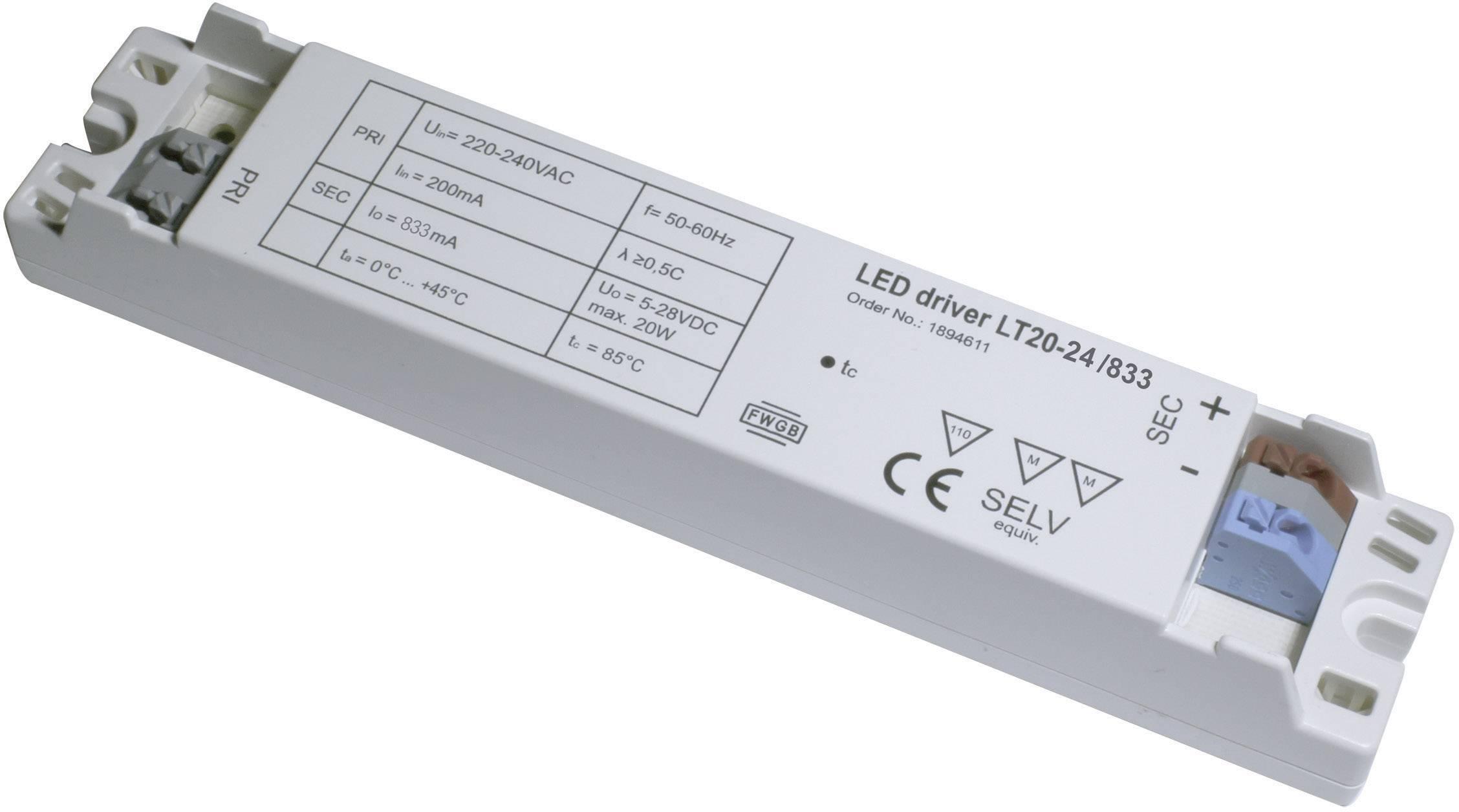 Napájecí zdroj LED LT20-24/833, 0,875 A, 220-240 V/AC