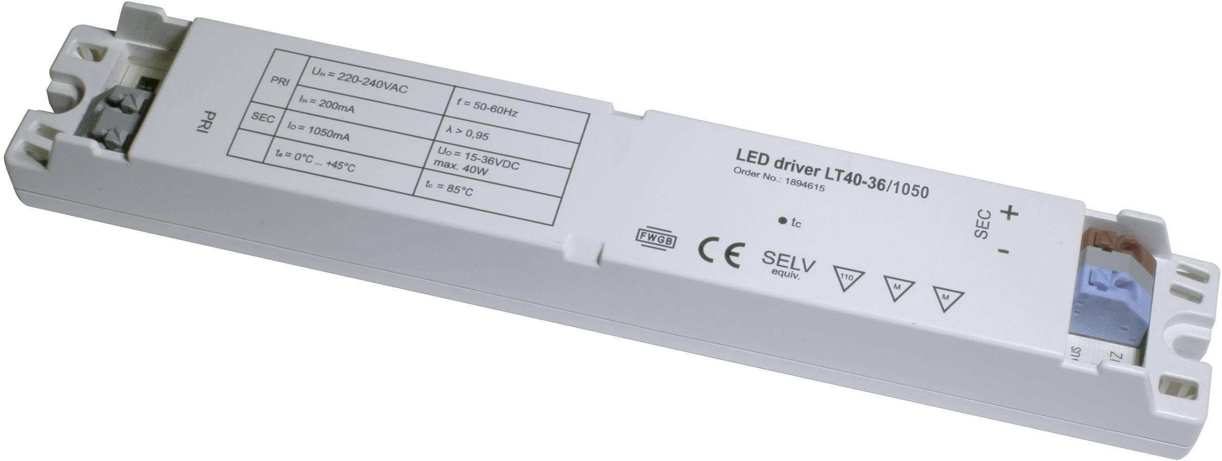 Napájací zdroj pre LED, LED driver LT40-36/1050, 1.05 A, 15 - 36 V/DC