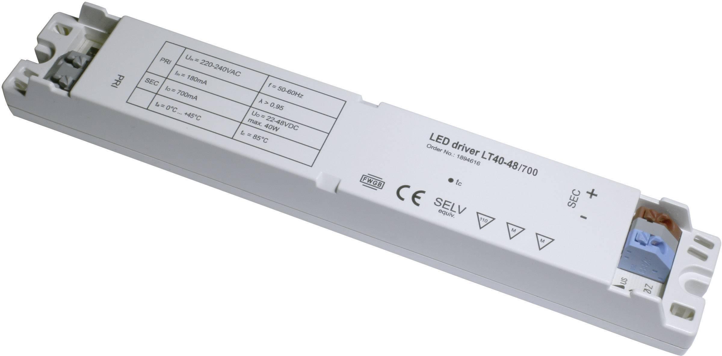 Napájací zdroj pre LED, LED driver LT40-48/700, 0.7 A, 22 - 48 V/DC