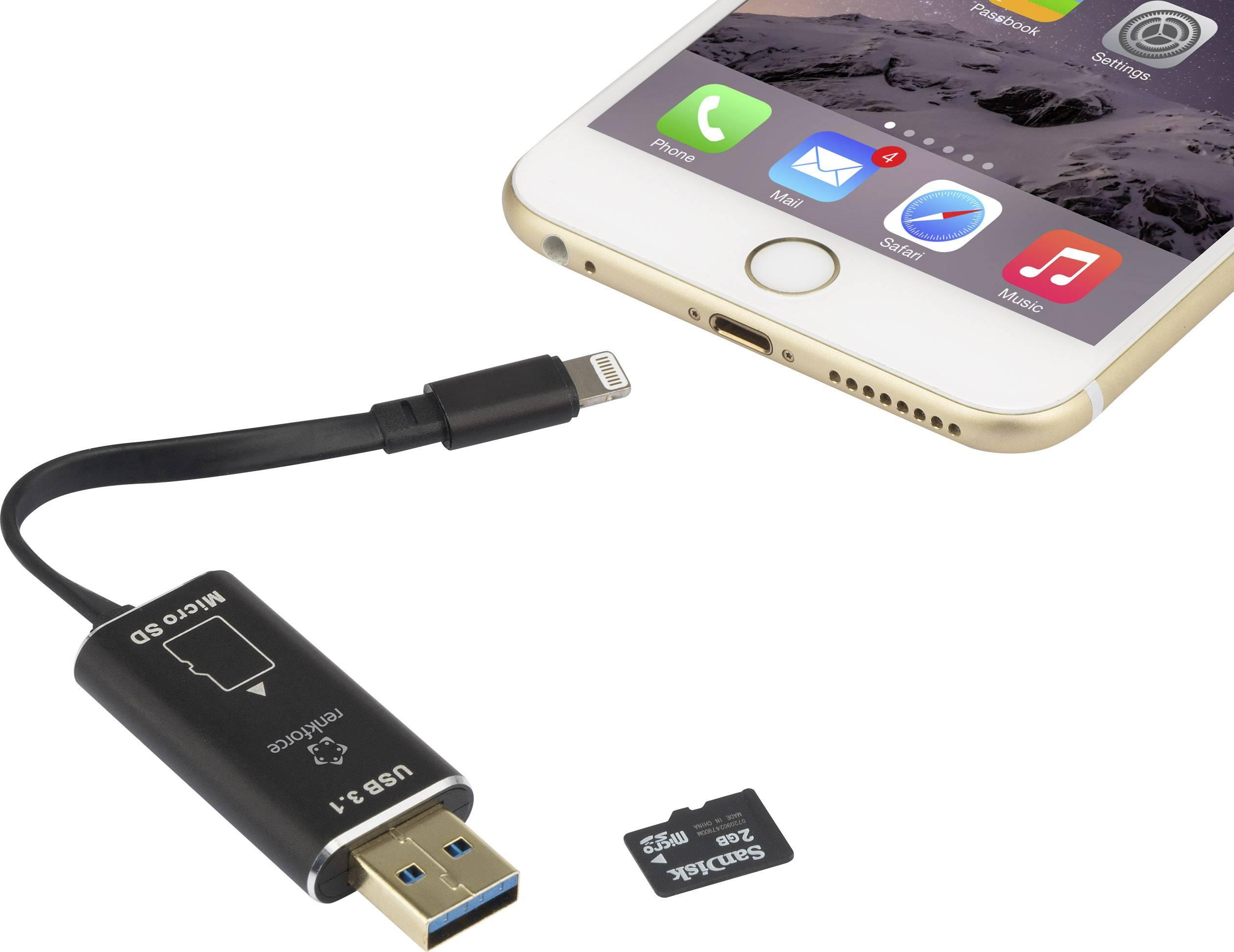 Čtečka karet pro smartphony a tablety s konektorem Apple Lightning Renkforce SmartStorage RF-LSS-256, černá