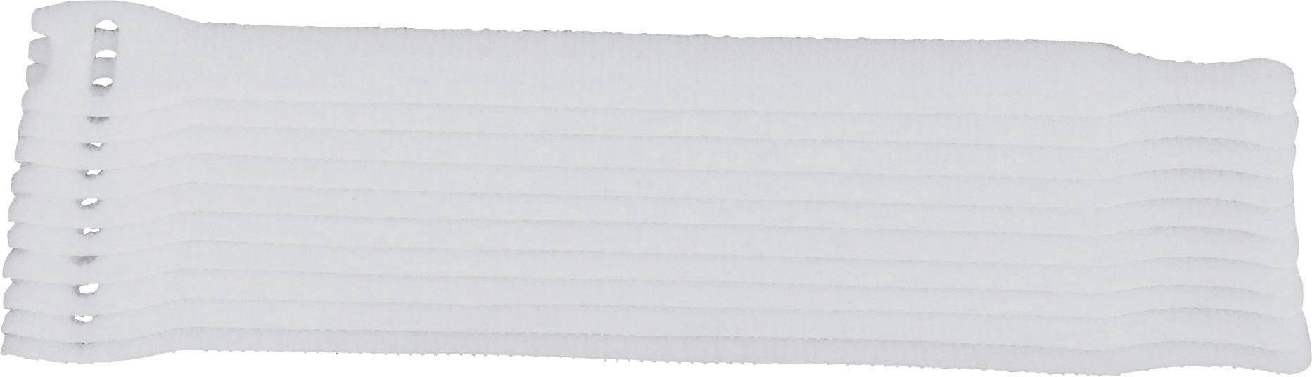 Káblový manažér na suchý zips TRU COMPONENTS 802-010-Bag, biela, 10 ks