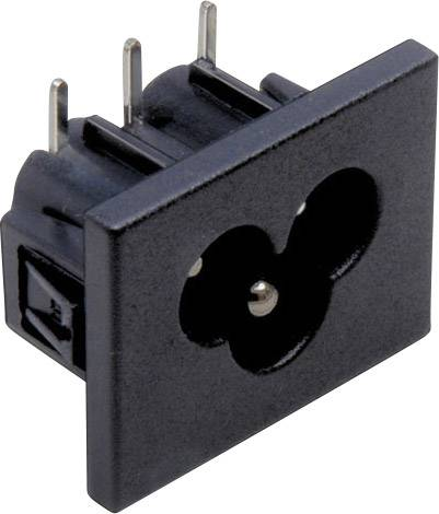 IEC zástrčka C13/C14 TRU COMPONENTS C6, zástrčka, vstaviteľná horizontálna, počet kontaktov: 2 + PE, 2.5 A, 250 V, čierna, 1 ks