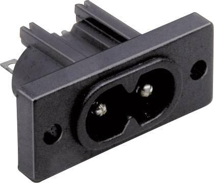 IEC zástrčka C13/C14 TRU COMPONENTS C8, zástrčka, vstaviteľná vertikálna, počet kontaktov: 2, 2.5 A, 250 V, čierna, 1 ks