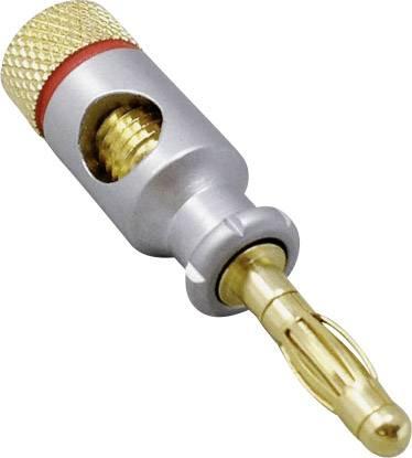 Banánek TRU COMPONENTS TC-2505048, Ø pin: 4 mm, zástrčka, rovná, červená, 1 ks