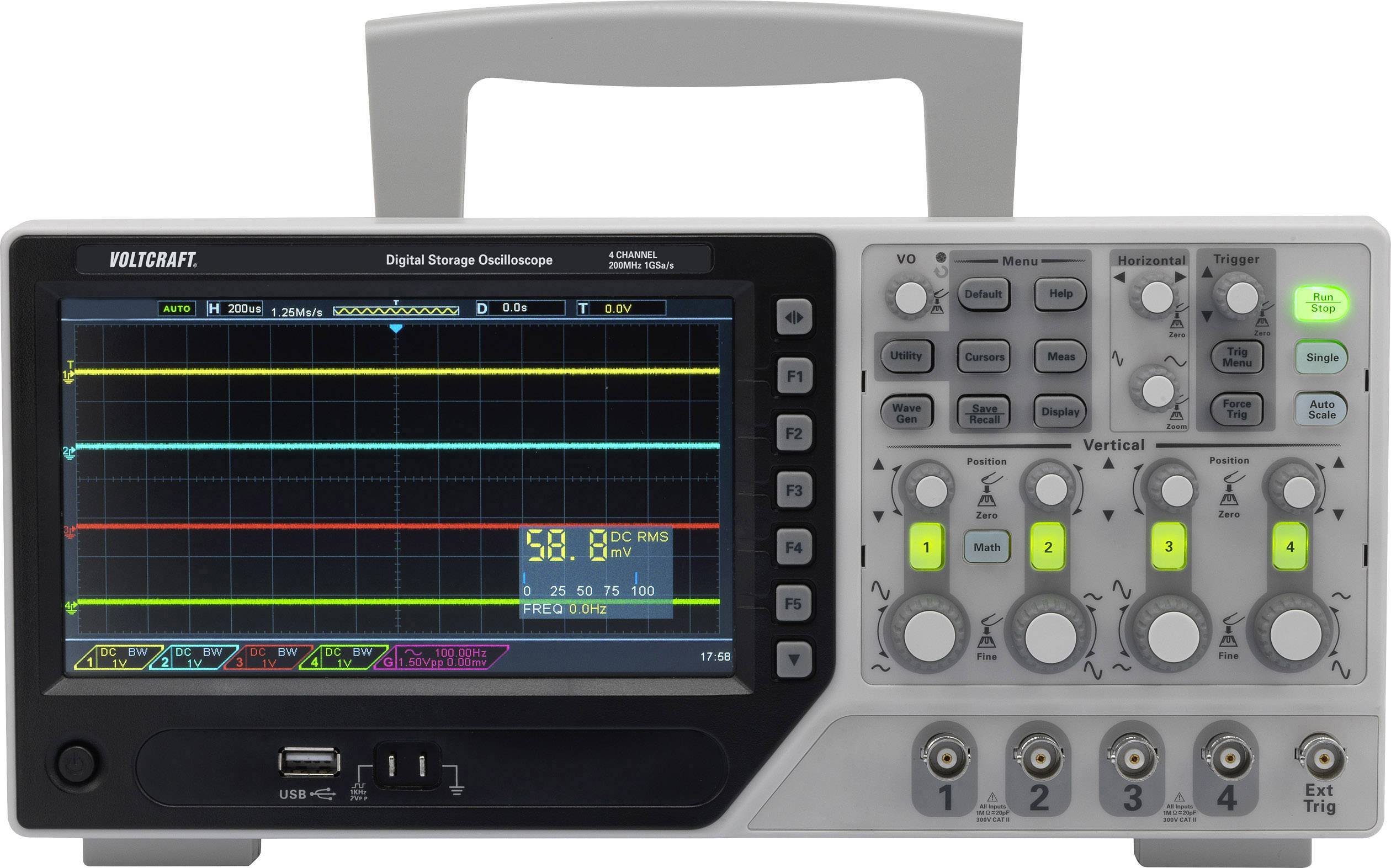 Digitální osciloskop VOLTCRAFT DSO-1204E, 200 MHz, 4kanálový
