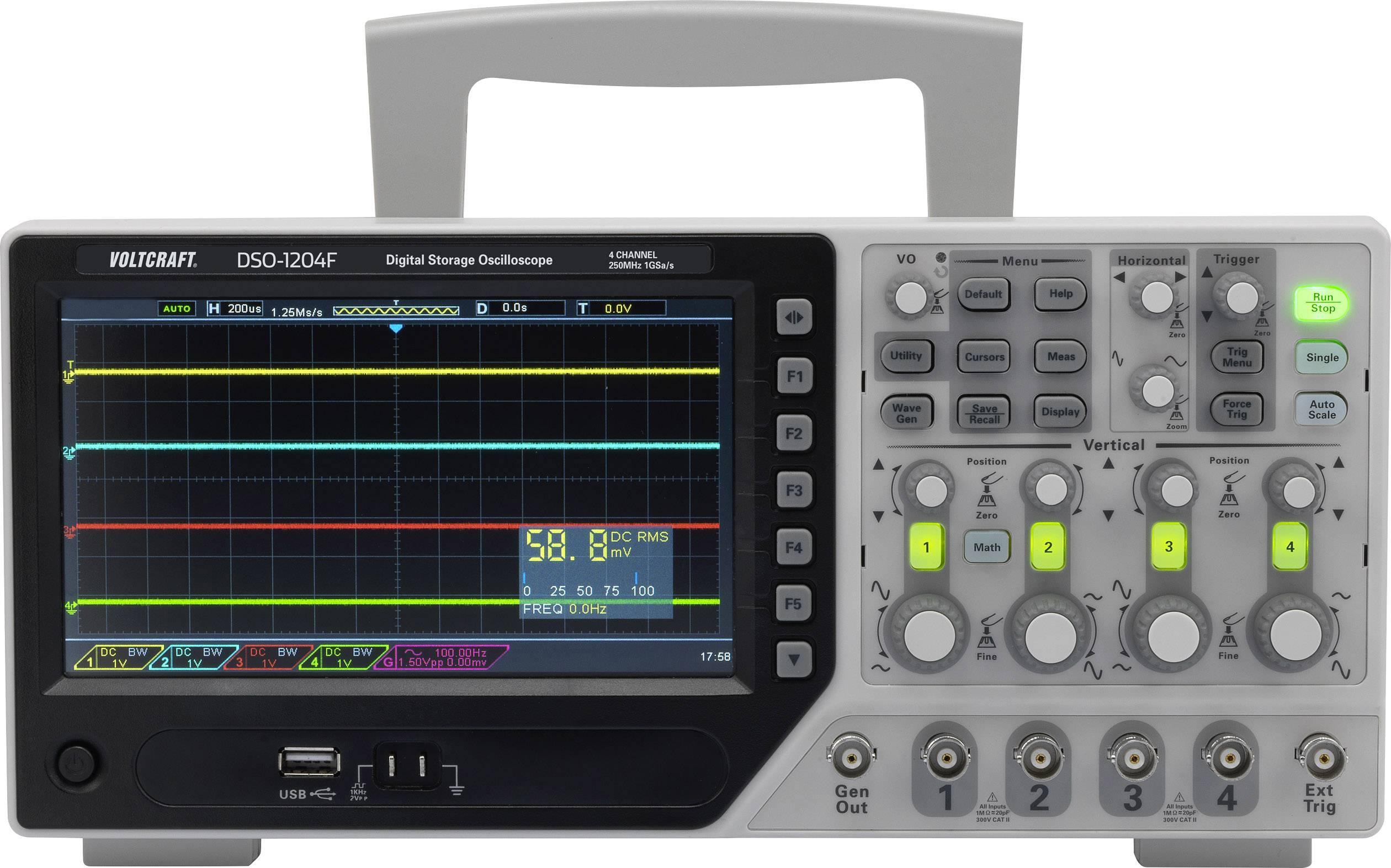 Digitální osciloskop VOLTCRAFT DSO-1104F, 100 MHz, 4kanálový