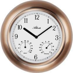 Venkovní nástěnné hodiny s teploměrem a vlhkoměrem Atlanta Uhren 4446, Vnější Ø 255 mm, měděná