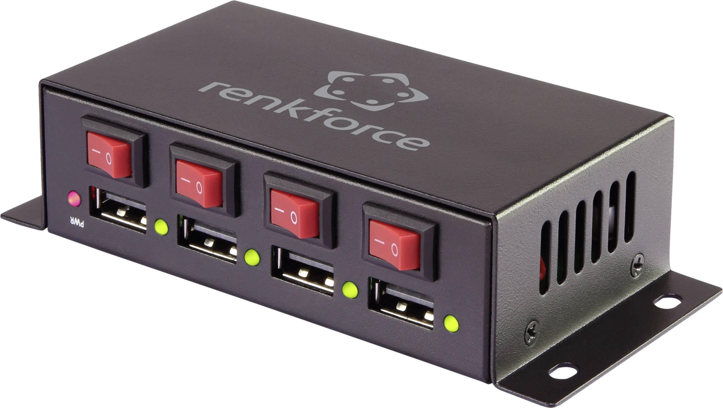 USB nabíjačka Renkforce 7 A, čierna