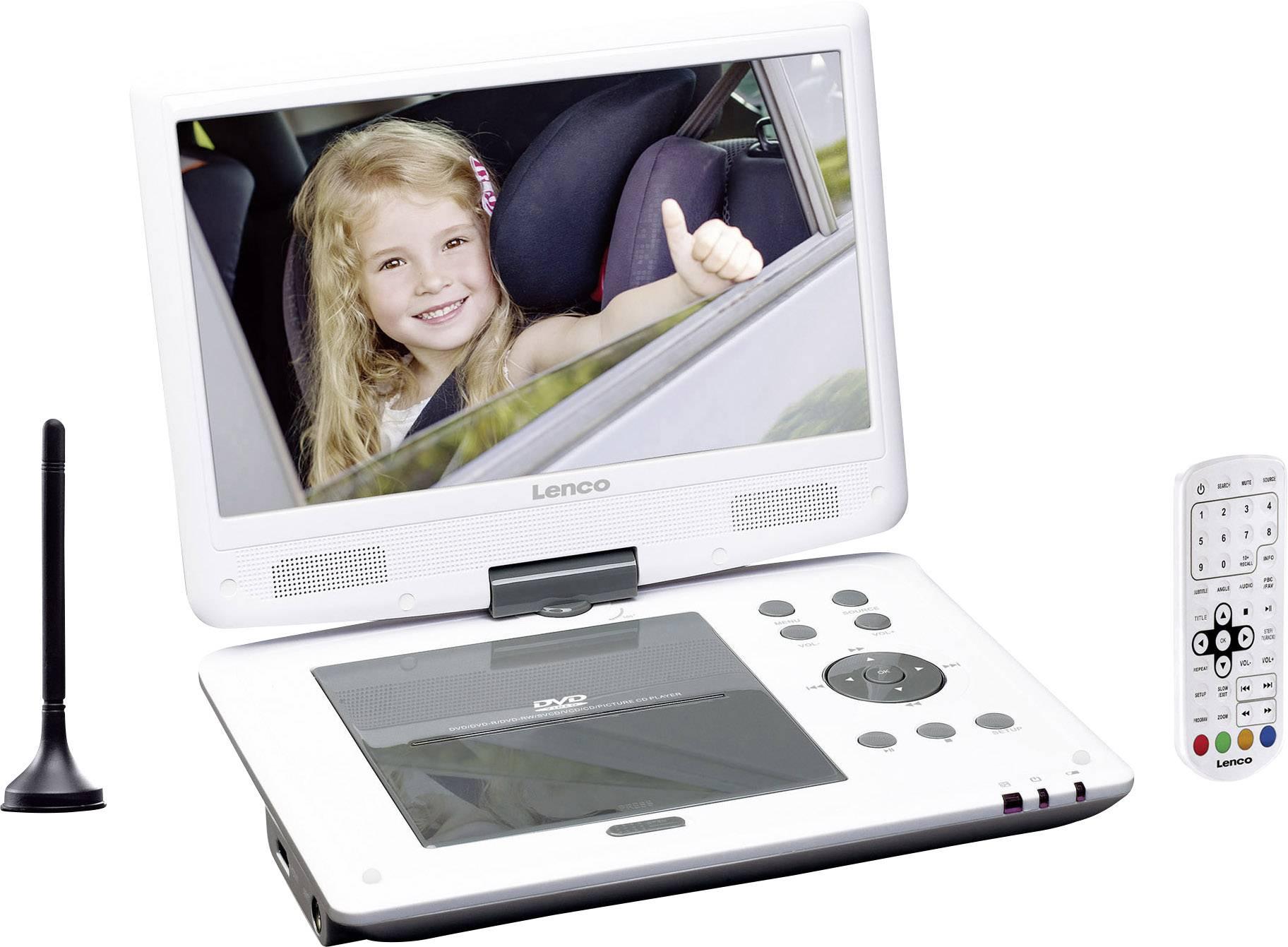 """Přenosný DVD přehrávač 25.4 cm 10 """" Lenco DVP-1063WH s integrovaným DVD přehrávačem bílá"""