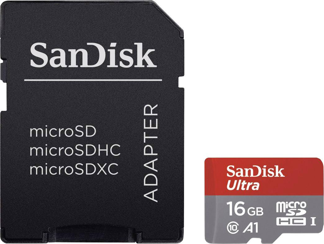 Micro SDHC paměťová karta SanDisk Ultra 16 GB + SD adaptér