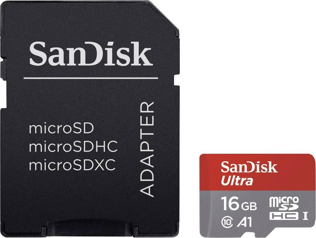 Pamäťová karta micro SDHC, 16 GB, SanDisk Ultra®, Class 10, UHS-I, vr. SD adaptéru