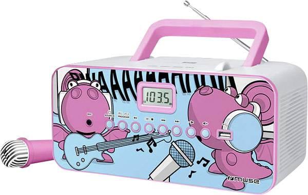 Dětský CD přehrávač Muse M-29 KDG CD, FM, USB včetně mikrofonu, růžová