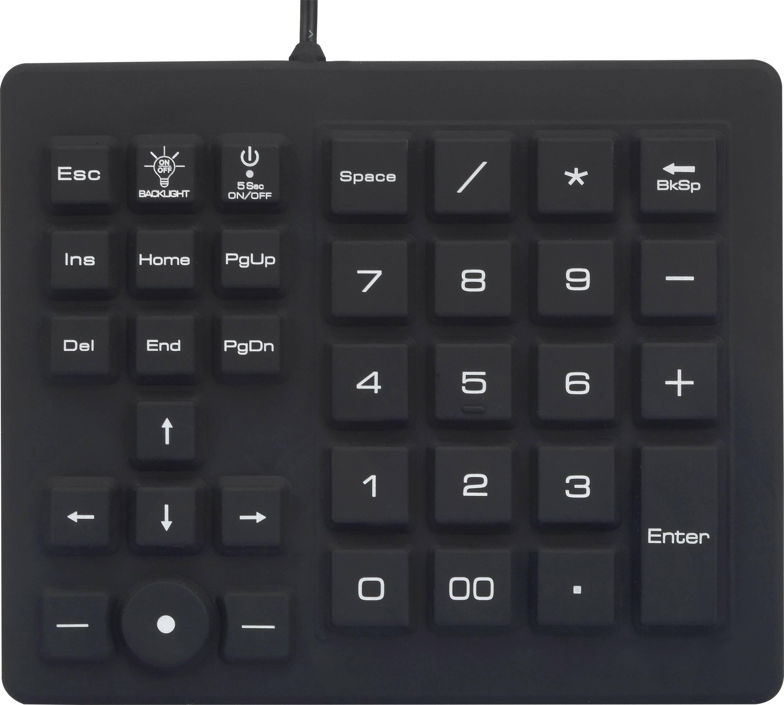 Vodotesná USB numerická klávesnica Renkforce RF-4791687, čierna
