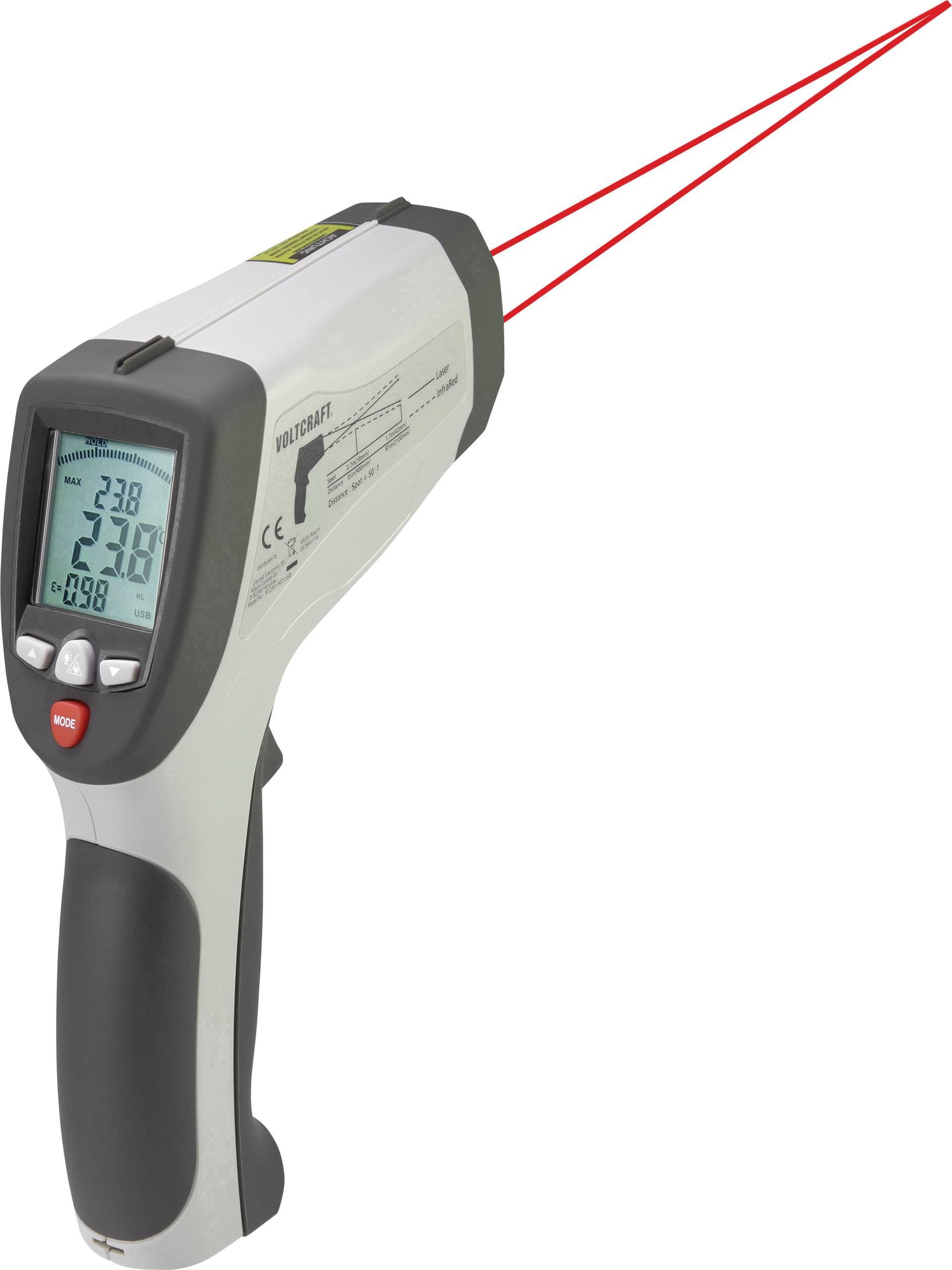 Infračervený teploměr VOLTCRAFT IR 2201-50D USB, Optika 50:1, -50 až 2200 °C, pyrometr