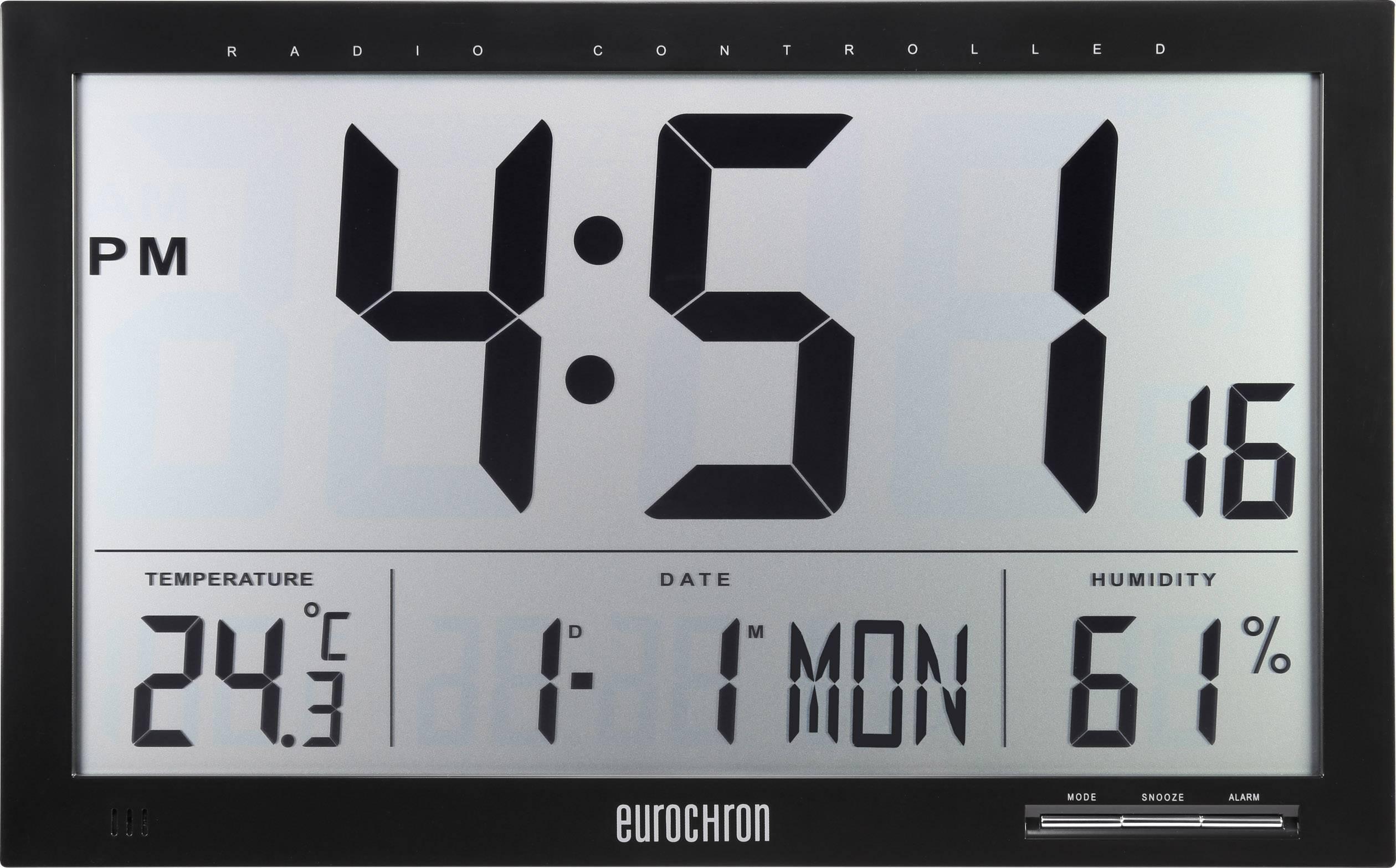 DCF nástenné hodiny Eurochron EFWU Jumbo 100, čierna
