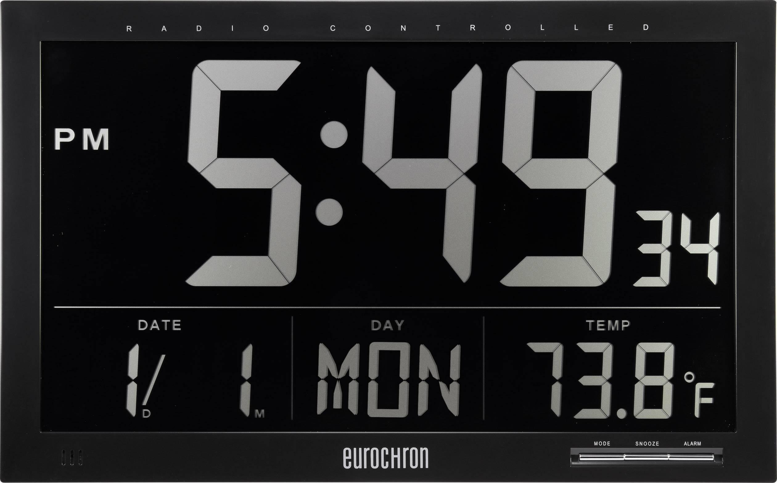DCF nástěnné hodiny Eurochron EFWU Jumbo 101, černá