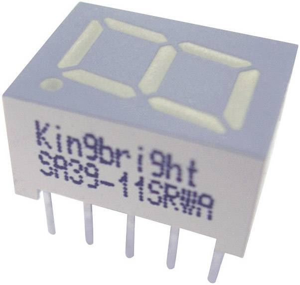 7-segmentový displej Kingbright SC39-11GWA, číslic 1, 10 mm, 2.2 V, zelená