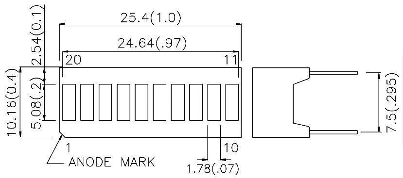 Lineární ukazatel 10-místny TYP DC-10YWA, 9 mcd, žlutá