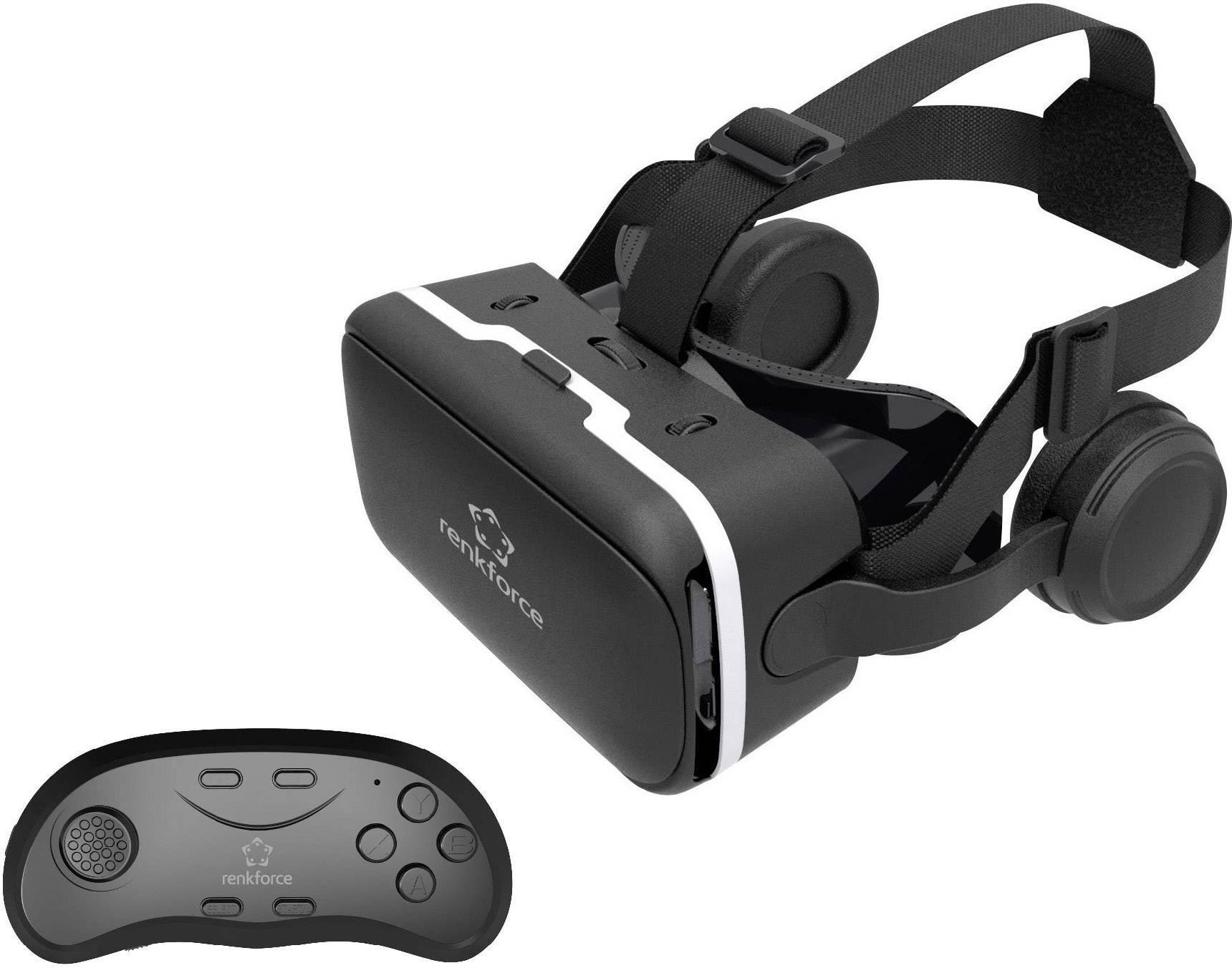 Brýle pro virtuální realitu + Bluetooth game pad pro smartphony Renkforce RF-VR2, černá