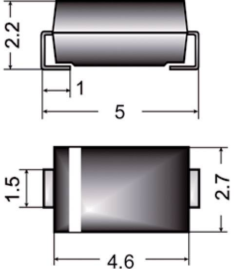 Dióda Z Semikron Z1SMA15, DO-214AC, zener. napätie 15 V