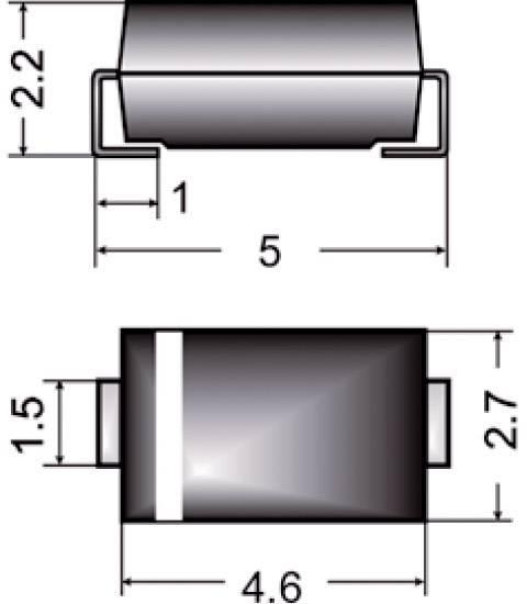 Dióda Z Semikron Z1SMA36, DO-214AC, zener. napätie 36 V
