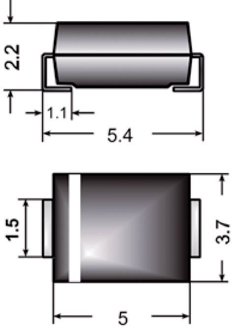 Dióda Z Semikron Z2SMB75, DO-214AA, zener. napätie 75 V