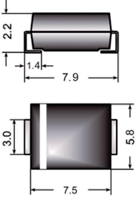 Dióda Z Semikron Z3SMC12, DO-214AB, zener. napätie 12 V